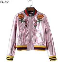 Wholesale Thin Jackets For Sale - Wholesale- Autumn Female jacket Metal Sense Fashion Embroidery Pink Bomber jacket Colour Block Thin Faux Leather jackets For Women Hot Sale