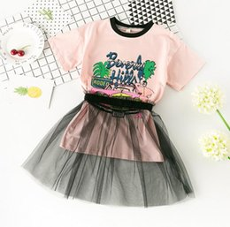 Wholesale Tshirt Tops Skirts - New Summer Girls Set Baby Girl Cartoon Letters Long Tops Tshirt + Lace Tulle Skirt 2pcs Clothing Suit Children Outfits Set 3 Colors 13040