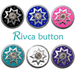 Wholesale Sports Beads Rhinestone - D02724 Rivca Snap Button charms Jewelry High quality crystal 18mm Metal Noosa chunk Rhinestone Styles Ginger Snaps Bracelets For Women