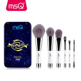 Wholesale wood magnetic - Msq 6pcs Makeup Brushes Set Synthetic Hair Portable Make Up Brush Short Handle 12 Constellation Series with Magnetic Case