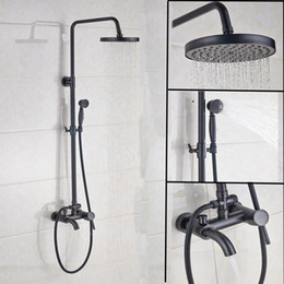 "Wholesale Rainfall Shower Set Hand - Oil Rubbed Bronze Shower Faucet Set 8"" Rainfall Shower Head With Hand Shower Tub Spout Mixer Tap Wall Mount"