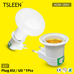 Wholesale Lamp Holder Base Wall - Wholesale- 11.11 Big Sale +Cheap+ e27 base wall lamp holder with switch nightlight socket adapter us ca eu