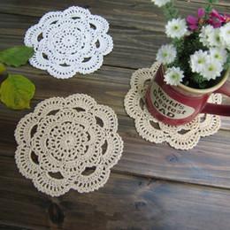 Wholesale Zakka Crochet - Wholesale- ZAKKA Handmade 16cm Round flower Lace Doilies Table Place Crochet Coaster Cup Mat Cotton Doilies 24pcs Lot