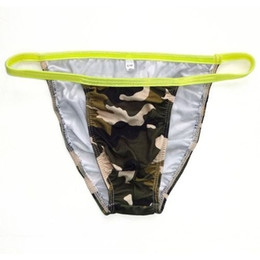 2017 impression poly Mens String Bikini G7424 Fashional Panties Contoured Pouch Camouflage Feaves Estampes Soft Comfort mens baskets poly abordable impression poly