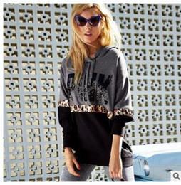 Wholesale Cotton Hoodies Leopard Sweatshirt Top - New Women's Hoodie Leopard PINK Print Long Sleeve Sweatshirt Jumper Patchwork Hooded Pullover Coat Tops clothing
