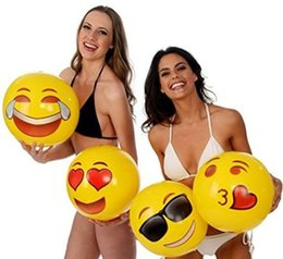 "Wholesale Family Holiday Party - Emoji Beach Ball For Adults Kids Inflatable PVC 12"" Family Holiday Summer Party Favors Swimming Pool Toys X031-1"
