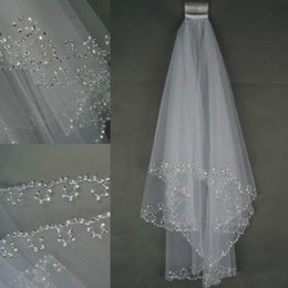 Wholesale Crystal Wedding Veils - 2017 In Stock Wedding Veils Crystals 2-Layer Handmade Crescent Edge Bridal Accessories White and Ivory Bridal Veils Beads With Comb