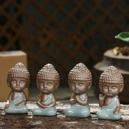 Wholesale Porcelain Home Decoration - Chinese Zen Small Buddha Purple Clay Ge Kiln Ceramics Tea Pets Ornaments Tea Ceremony Tea Set Home Decoration Crafts Ornament ZA2889