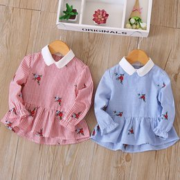 Wholesale Girls Ruffle Shirt Embroidery - Everweekend Sweet Kids Girls New Fashion Western Stripe Ruffles Cotton T-shirt Children Girls Embroidery Flowers Blouse Top