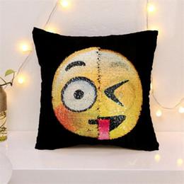 Wholesale Plastic Cushion Covers - Sequins Pillow Case Emoji Mermaid Cushion Gradient Color Change Face Double Color Pillow Cover Soft Car Sofa Ornament Bright Covers 3002058