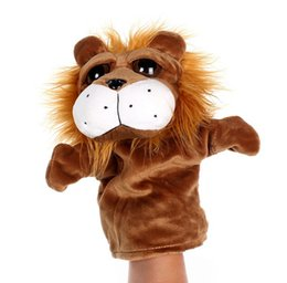 Wholesale Cute Lion Plush Doll - Child Kids Cute Plush Velour Animals Hand Puppets Chic Designs Learning Aid Toys Dolls Big lion