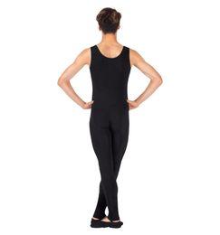 Wholesale Black Full Unitard - One Piece Black Tank Unitard Men Lycra Ballet Sleeveless Full Body Tight Jumpsuit Unitards Dance Costumes Unitards Bodysuit