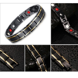 Wholesale Wholesale Magnetic Health Jewelry - Hot Sale Hottime Luxury Fashion Health Energy Bracelet Bangle Men 316L Stainless Steel Bio Magnetic Bracelets Black & Gold Plated Jewelry