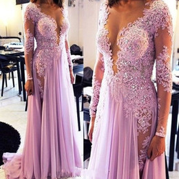 Wholesale Coral Dress Beaded Bust - Fashion low bust prom dresses 2017v neck appliques lace beaded long sleeve women pageant gowns evening dress sexy chiffon formal party dress