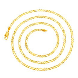 Wholesale Italy Gold Necklace - Wholesale- Classic Men 2mm*60cm Gold-color Italy Figaro Chain Necklace Jewelry