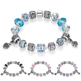 Wholesale Vintage Glass Plates Silver Set - hot sale fashion jewelry 18cm 20cm 4 colors DIY beaded glass crystal beads vintage retro heart charm snake bangle bracelet