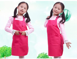 Wholesale Painting Bibs - 100pcsKids Aprons Pocket Craft Cooking Baking Art Painting Kids Kitchen Dining Bib