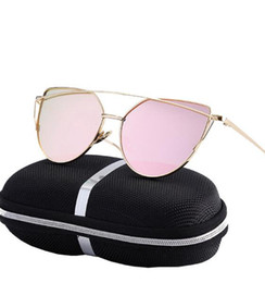 Wholesale Sexy Lens - 23 color Cat Eye Women Sunglasses Rose Gold Metal Reflective Summer Pink Sun Glasses Vintage Sexy Shades High Quality