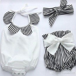 Wholesale Sunflower Romper - INS styles Hot sell fant girl Summer 3 piece set 100%Cotton halter sunflowers romper+ short +headbands baby clothing girl 3 pieces sets 0-3T