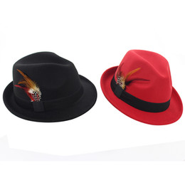 Wholesale Ladies Fedora Hats - Autumn Winter Women Wool Felt Jazz Cap Hat Trend Lady Fedora Trilby Hats with Feather European US Female Feltro Hat GH-252