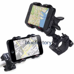 Wholesale Iphone Handlebar - Universal Bike Bicycle Mount 360 Degree Rotatable Rotation adjustable Bracket Holder Dual Clip Handlebar for iphone 7 Samsung Cell phone GPS