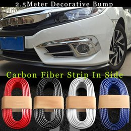 Wholesale Chrysler Bumpers - TOP AUTO 250cm Fit all car styling outside carbon fiber Rubber Car Front bumper Strips Lip Kit protection anti collision decoration strips