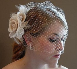 Wholesale Tulle Blusher Flower - In Stock Vintage Couture Bridal veil Hat of Rhinestones With White Tulle Russian Blusher Birdcage Veil Fascinator