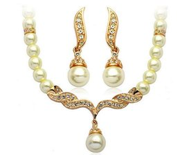 Wholesale Tear Drop Statement Necklace - Statement Necklace for Wedding Gold Plated Tear Drop Cream Pearl Rhinestone Crystal Necklace Earring Bridesmaid Jewelry Set