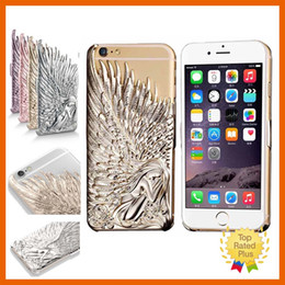 Wholesale Plastic Pouch Designs - Luxury 3D Angel Wing Design Hard Metal Aluminum Cellphone Case Protective Cover for iPhone 6 6s Plus