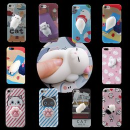 Wholesale Iphone Panda Cases 3d - 2017 Kawaii New 3D Squeeze Cat Seal Panda Silicon Lovely Cellphone Case for iPhone 7 iPhone 6 6S Plus Squeeze Stretchy Toy Phone Skin Cover