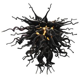 Wholesale Chihuly Style Chandeliers - Classic Black Glass Art Chandelier Chihuly Style Blown GLass Chandeleir Lighting with LED Custom Made Flush Mounted Ceiling Lights