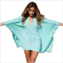 Wholesale White Cotton Beachwear - Beach Cotton Cover-Ups V-neck Tunic Sarong Bathing Suit Coverups Bikini Cover Up Women Swimsuit Beachwear 02-0186