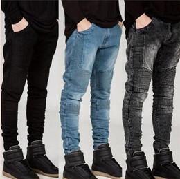 Wholesale Hiphop Jeans For Men - Mens Skinny jeans men new Runway Distressed slim elastic jeans denim Biker jeans hiphop pants Washed black for men blue hight quality