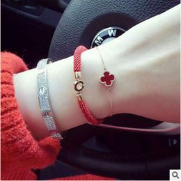 Wholesale Top Traditional Women - Top Quality 316L stainless steel Clasp Red Rope Women Bracelet in 16CM size Free Shipping PS4237