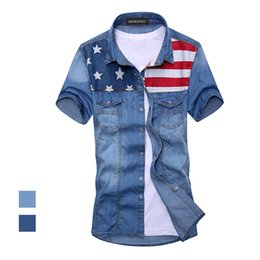 Wholesale Long Sleeve American Flag Shirt - Wholesale- 2017 New vintage men's fashion American Flag denim shirt short sleeve light blue jeans shirt free shipping Top quality