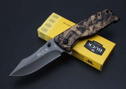 Wholesale Tactical Quick - Free shipping buck - x58 quick opening 5 cr13mov camouflage folding knife blade 57 HRC outdoor camping survival professional quality knife
