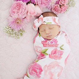 Wholesale Soft Swaddle Blankets - Infant Baby Swaddle Sack Baby Girl Rose Flower Blanket Newborn Baby Soft Cotton Cocoon Sleep Sack With Matching Knot Headband Two Piece Set