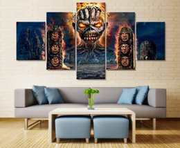 """Wholesale large canvas paintings wall decor - LARGE 60""""x32"""" 5 Panels Wall Art Decor Iron Maiden Poster Canvas Fine Print Home Wall Decor (No Frame)"""