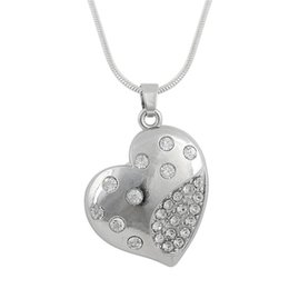 Wholesale Single Crystal Pendants - Fashion Crystal Heart Shape Pendant Rhodium Plated Rhinestone Pendant single sided zinc alloy antique silver plated crystal necklaces