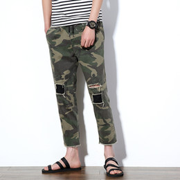 Wholesale Men S Denim Harem - Wholesale- Harem Pants 2017 Men's Denim Hip-Hop Jeans Ankle-Length Holes Pants Men Casual Army Green Camouflage Pants Male Trousers 5XL