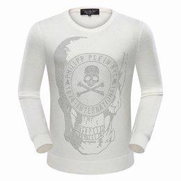 Wholesale Skull Long Knit Sweater - New Autumn Pullover Men Sweaters Brand Long Sleeve Sweater Casual Slim Men O-Neck Skulls Rhinestone Fashion Sweatshirts