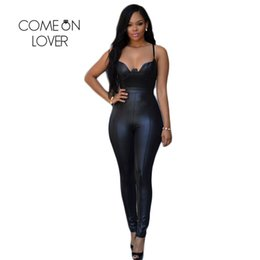 Wholesale Tight Fitting Jumpsuits - Wholesale- RI80281 Latex Catsuit Bodycon Jumpsuits for Women Tight-fitting Open Back Faux Leather Jumpsuits Back Zipper Women Bodysuit