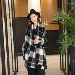 Wholesale thick scarves for women - Wholesale- Winter Plaid Scarf for Women Warm Cashmere Stole Brand Shawl and Thick Wool Blanket and Wraps