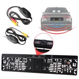 Wholesale Ir Frame - IR Night Vision EU Car License Plate Frame Rear View Camera + 2.4G Wireless Color Video Transmitter and Receiver CAL_010