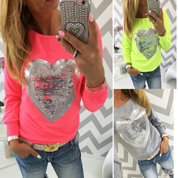 Wholesale Kawaii Heart - Wholesale-2016 Fashion Autumn casual t shirt women kawaii sequin tops love heart shape cute pink tshirt blusa long sleeve tee clothing