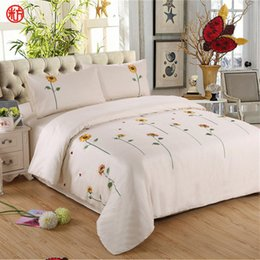 Wholesale Sunflower Sheets King - Sunflower Bedding sets 100%cotton embroidered duvet cover flat sheet bedclothes pillowcase bed set queen size outlet bedding