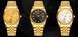 Wholesale Men S Business Watch - HOT! New - style men 's steel band couple gold casual quartz watch diamonds calendar waterproof business gold watch free shipping