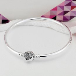 Wholesale European Bangles - Authenetic 925 Sterling Silver Bangle Crystal Heart Circular Clasp Clip Suitable Bracelet Fit Women DIY Charm Jewelry HKA4000