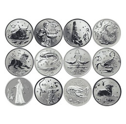 Wholesale Zodiac Coins Set - 12Pieces  lot,Delicate Russia 12 zodiac signs a full set of silver-plated commemorative medallion is made of COINS Signs of the zodiac The c