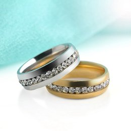 Wholesale Crystal Gifts For Men - Stainless Steel Crystal Wedding Rings Simple Row Gold Ring Finger Rings Couple Ring Bands for Women Men Wedding Jewelry DROP SHIP 080191